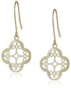 14k Yellow Gold Diamond-Cut Clover Dangle Earrings *** More info could be found at the image url. (This is an Amazon Affiliate link and I receive a commission for the sales)