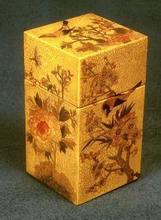 High quality découpage: Roy Larking. Square golden box
