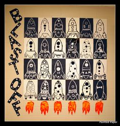 PAINTED PAPER rockets- only black paint on white or white paint on black 3rd Grade Art Lesson, First Grade Art, Spring Art Projects, School Art Projects, Class Projects, Art School, Spaceship Art, Space Painting, Art Lessons Elementary