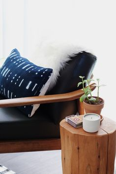 @westelm mid century chair + tree stump side table via @newdarlings