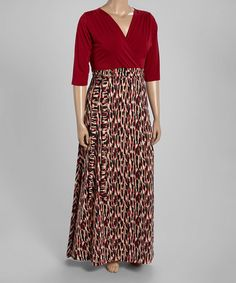 Another great find on #zulily! Burgundy Abstract Empire-Waist Maxi Dress - Plus #zulilyfinds