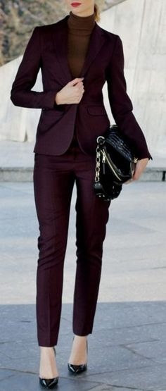 Burgundy Suit Holiday Style Inspo by Beauty - Fashion - Shopping women fashion outfit clothing style apparel closet ideas Business Outfit Frau, Business Outfits, Business Fashion, Mode Outfits, Office Outfits, Fashion Outfits, Womens Fashion, Suit Fashion, Sneakers Fashion