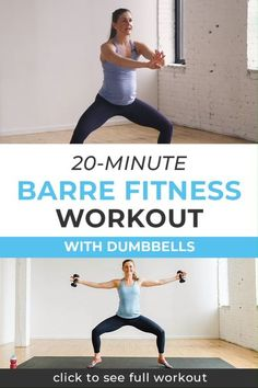 Are you searching for an at home workout video you can do with a busy schedule? This barre fitness video is just a 20 minute workout, but will help you strengthen and tone your body. Click through to grab the full workout video today! || Nourish Move Lov Barre Workout Video, Barre Exercises At Home, Cardio Barre, Home Workout Videos, 20 Minute Workout, At Home Workouts, Free Workout, Pregnancy Workout Videos, Barre At Home Workout