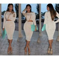 • NUDE long sleeve ruched dress size S & M • This listing is for the nude, last picture. Small and medium will be available. No trades. Dresses Midi