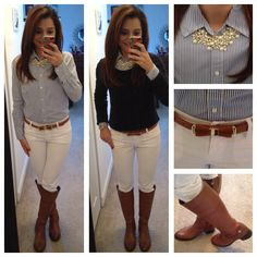white skinny jeans, chambray shirt, navy sweater, Equestrian boots, statement pearls find more women fashion ideas on www.misspool.com