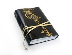 Black Leather Journal Art Nouveau Luxury Diary Elegant by Baghy
