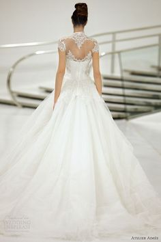 atelier aimee wedding dresses 2014 carol scalloped cap sleeve illusion back gown