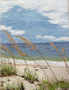 """Beaches - by Jenny Williams Free Motion Machine Embroidered - 7"""" x 10"""" - this was juried into the SAQA (Studio Art Quilters Assoc) 25th Anniversary Trunk Show and was juried to be in the Permanent Collection at the National Quilt Museum in Paducah, KY"""