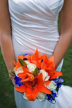 Blue & Orange bouquet -- dang it! Why didn't I do this ten years ago?!? Missed opportunity to bronco up my wedding.
