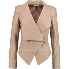 Helmut Lang Asymmetric leather jacket ($450) ❤ liked on Polyvore featuring outerwear, jackets, beige, genuine leather jacket, real leather jacket, asymmetrical leather jacket, slim leather jacket and beige jacket