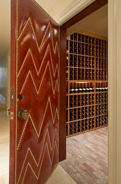 Palmer Weiss – Presidio Heights 3 | Leather upholstered door with chevron nailhead detail Modern Upholstery Fabric, Chair Upholstery, Door Design, House Design, Upholstered Wall Panels, Leather Wall, Door Trims, Sound Proofing, Internal Doors