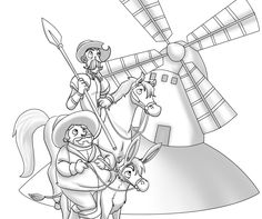 dibujos para colorear don quijote dela mancha - Buscar con Google Arts And Crafts, Paper Crafts, Diy Crafts, Dom Quixote, Elsword, Beautiful Images, Storytelling, Celtic, Learning