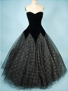 Victor Costa tulle gown l950s