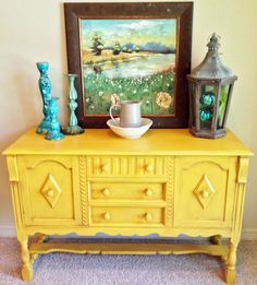 Antique English Buffet Upcycled in Mustard Yellow. $400.00, via Etsy.