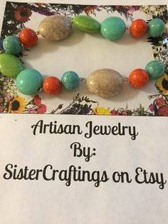 Handcrafted Acrylic Beaded Bracelet Adjustable by SisterCraftings on Etsy