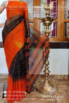 Black colour checks cotton silk saree with Orange Thread woven pallu & Blouse