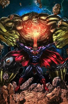 Superman vs hulk...super awesome pic! cant deny thats pretty cool (marvel vs DC)