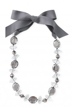 beaded necklace with ribbon tie--i have some beads in my craft room that would be perfect for this (of course i do lol)!