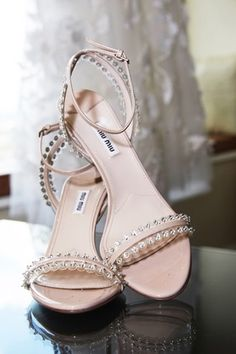 1070c40ab8e042 miu miu heeled sandals with crystal stud detailing Miu Miu Heels, Blush  Heels, Bling