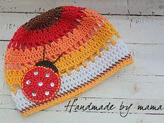 Crochet beanie hat with little ladybug.Crochet spring hat https://www.facebook.com/HandmadebyMama?ref=hl