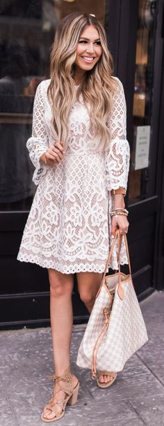 White Lace Dress & Checked Tote Bag
