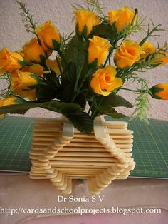 Ice Cream Stick Flower Vase Lets Use Up Those Lolly Sticks To Make A Diy Crafts Pot Recycling Ideas Popsicle Craft Tutorial I