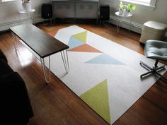 Create a Custom Rug with Flor Carpet Tiles - I'd like to try this but with more color and more elaborate LOL!!