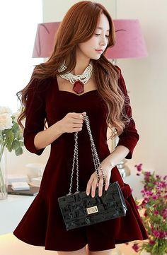 Morpheus Boutique - Jujube Red Bow Skirt Falbala Hem Designer Dress, $149.99…