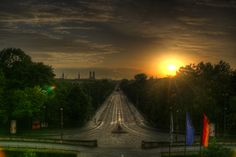 Sunset in Munich , Germany , HDR