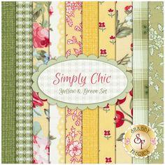 Simply Chic 10 FQ Set - Yellow & Green Set by Anna Stuart for Benartex Fabrics