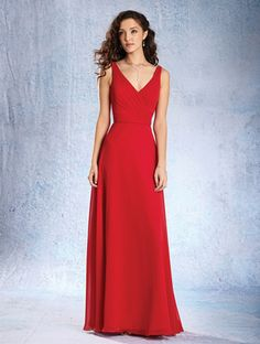 Alfred Angelo Style 7359L: floor length bridesmaid dress with v-shaped neckline