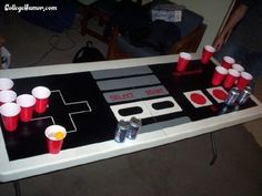 10 creative beer pong tables to chill out with your friends 80s Birthday Parties, Birthday Party Themes, 30th Birthday, 80s Party Decorations, Nintendo Party, Decade Party, Video Game Party, Beer Pong Tables, Retro Party