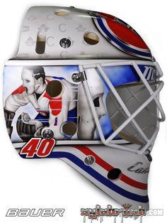 Ben Scrivens of the Montreal Canadiens for 2016 Winter Classic / Artist: Sylvie Marsolais Montreal Canadiens, Nhl, Hockey Helmet, Goalie Mask, Masked Man, Cool Masks, Goalkeeper, Ice Hockey, Mask Design