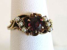 Antique Victorian Garnet with Seed Pearls Seed Pearl Ring, Garnet Gem, Garnet Jewelry, Emeralds, Yellow Gold Rings, Georgian, Fashion Rings, Class Ring, Vintage Jewelry