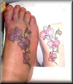orchid tattoo designs on foot - Tambra Weird Tattoos, Up Tattoos, Foot Tattoos, Tattoos For Women, Tattos, Flower Tattoo Foot, Small Flower Tattoos, Tattoo Flowers, Floral Tattoos