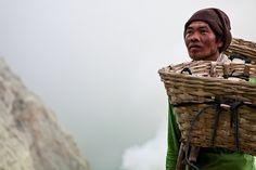 The worker…Ijen Volcano Volcanoes, Volcano
