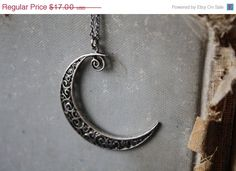 ON SALE Crescent Moon Necklace by spacepearls on Etsy, $15.30