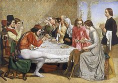 Isabella (Millais painting) - I love the courtier on the left showing his jealously by trying to kick Isabella's beloved pet.
