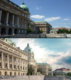 Before and after comparison Historic Architecture, Interior Architecture, Buda Castle, Palace Garden, Budapest Hungary, Old Buildings, Empire, Louvre, Europe