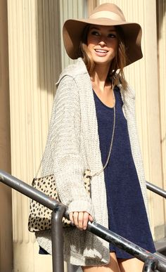 sweet dress with oversized knitted cardigan