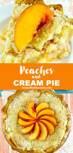 *NEW* Our luscious easy peaches and cream pie is loaded with fresh peaches and a homemade sweet cream filling and crowned with a streusel topping. #Peaches #CreamPie #Pie