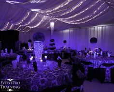damask birthday party - event pro of Wall Drapes, Ceiling Draping, Bling Centerpiece, Twins 1st Birthdays, 18th Birthday Party, White Damask, Spring Festival, Wedding Events, Weddings