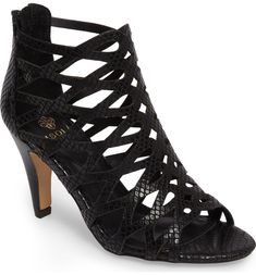Free shipping and returns on Isolá Debra Cage Sandal (Women) at Nordstrom.com. <p>A tapered heel elevates a chic cage sandal crafted from eye-catching leather.</p> Caged Sandals, Shoe Show, Valentino, Peep Toe, Nordstrom, Chic, Heels, Leather, Women