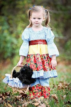 Over the Rainbow Dress girls toddlers babies birthday costume OZ blue peasant dress long sleeves PINKMOUSEKIDS