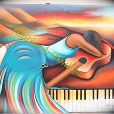 #Painting #forsale in our #Etsy #shop. #30x40 Woman on #piano. #Free shipping to US. #Music #colors #homedecor #wallart #pianokeys #canvasart #photography  http://www.etsy.com/shop/HaitianArtBoutique