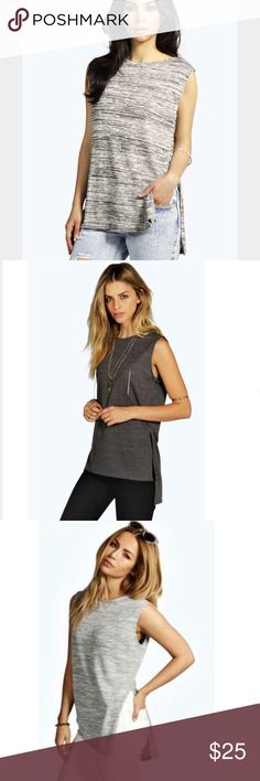 Athleisure Gray Sleeveless Tunic Open Split BUNDLE item. 🛍 You will receive both items since they are being sold together for the price listed! Lightly pre-owned item. No holes, rips, or stains. Comes in the colors light heather gray and dark heather gray.   🔺 size: US 4/ UK 8 / EU 36 🔺 length from shoulder to bottom: 27 in. / 70 cm 🔺 length armpit to armpit lying flat: 17in. / 43 cm 🔺 materials: 50% viscose / 48% polyester  / 2% Elastane  #Boohoo #womenswear #fall #gray #sleeveless…