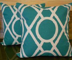 Pair of Decorative pillow covers, Turquoise bamboo lattice, trellis pillows. $52.00, via Etsy.