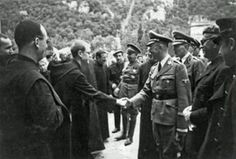 Heinrich Himmler with the Abbot of Montserrat (Catalonia). Hitler sent him in search of the Holy Grail, one of his obsessions