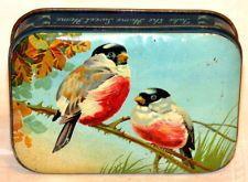 English Blue Bird Robin Candy Toffee Tin 1930s