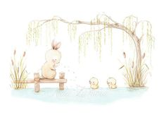 NURSERY Art BUNNY and DUCKS Art Print, Nursery Illustration. A Perfect print for boy nursery room! Its a reproduction of my original illustration printed with detailed on special watercolor paper 200 g. honed natural white, acid-free and 100% cellulose, gives appearance of original